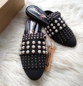 Seven7 • black Pearl studded sequin mule slides